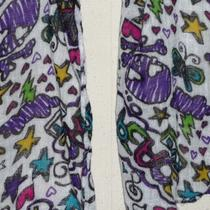 White Black Hot Pink Purple Aqua Trendy Hearts Stars Skulls Long Woven Scarf Photo