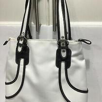 White Black Leather Trim Franco Sarto Shoulder Bag Purse Excellent Condition Photo