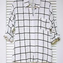 White/ Black Plaid Roll-Up Slev Shirts M W/ Anthropologie Earrings Photo