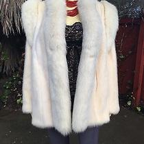 White Blush Ivory Mink Fur Jacket Stroller W Arctic Fox Trim Removable Sleeves Photo