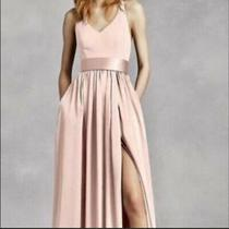 White by Vera Wang Bridesmaid Dress Blush v Neck Halter Sash Size 4 With Pockets Photo