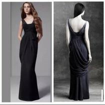 White by Vera Wang Sleeveless Chiffon Column Dress Black Gown Size 10 Photo