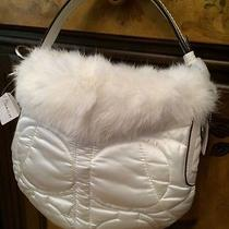 White Coach Hobo Shoulder Bag With Rabbit Fur Photo