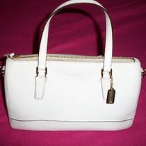 White Coach Purse Handbag Satchel With Gold Accents  Photo