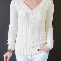 White/cream Womens Aeropostale Cable Knit Sweater Medium  Photo