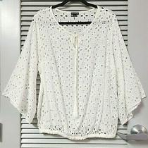 White Embro Cut Out Detail Half Slev Tie Neck Top 2xl W/ Anthropologie Earrings Photo