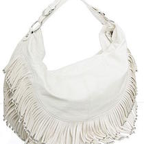 White Extra-Large/big Boho Fringe Crossbody Hobo designerl&s Photo