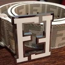 White Fendi College Belt Size 48/120 Photo