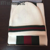 White Gucci Beanie Hat & Scarf Set Wool & Silk Brand New Box  Photo