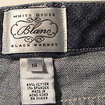 White House Black Market Blanc Women's Denim Blue Jean Capri Cropped Pants Sz 14 Photo