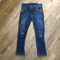 White House Black Market Jeans Size 2 Embellished Slim Crop Jean Stretch Denim Photo