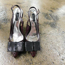 White House Black Market Rudy Slingback Heels 8.5 Faux Croc Embossed Big Bow Euc Photo