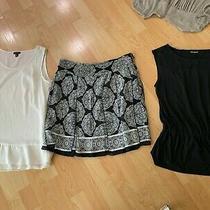 White House Black Market Silk Skirt W/ Panels Sz 8 & 2 Tops Ann Taylor &express  Photo