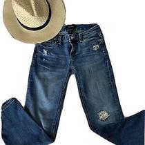 White House Black Market Stretch Jean Size 00 Crop Leg Straight Medium Wash Photo