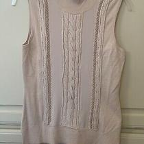White House Black Market Women's Cable Mix Blush Beige Sleeveless Sweater - Xs Photo