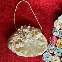 White Iridescent Sequined Flower Bloom Clutch by Toby Dainty Little Purse  Photo
