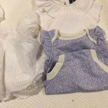 White Janie & Jack and Blue Print Gap Baby Girl 1 Piece 0-3 Months Free Dress Photo