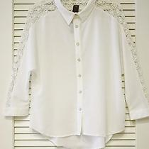 White Lace Contrast Button Down Shirts M  Anthropologie Earring Photo