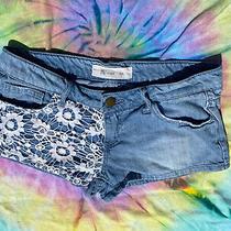 White Lace Crochet Light Blue Jean Shorts Size 1 Nv Jeans Forever 21 Photo