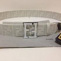 White Leather Fendi College Belt 95cm 32-34 Photo