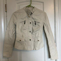White Leather Guess Jacket Size Xs Perfect Condition Brass Decals Photo