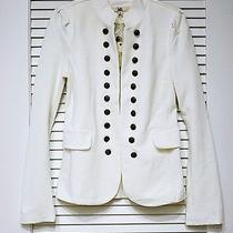 White Military Button Detail Jacket L W/ Anthropologie Earrings Photo