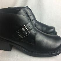 White Mountain Womens Size 6 M Ankle Boots Black Leather Moto Buckle Excellent Photo