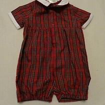 White Orient Expressed Girls Smocked Christmas Romper Sz 12m Nwt Red Plaid Photo