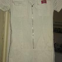 White Pin Striped Short Sleeve Dickies Mini Dress Size Small  Photo