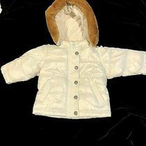 White Puffer Jacket 6-12 Month Infant Girl Faux Fur Trim Baby Gap Warmest Jacket Photo