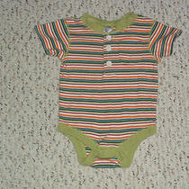 White Red Orange Aqua Lt Green & Green Striped S/s Bodysuit Baby Gap 3-6 M Photo