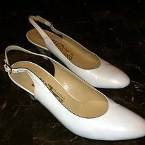 White Salvatore Ferragamo 8aaa Slingback All Leather Shoes Winter Wedding Photo