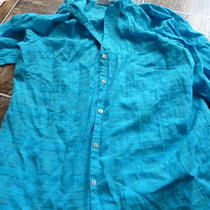 White Stag Womens Size 16w Button Down Shirt Blouse Aqua Photo