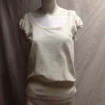 White Sweater Top Chelsea & Theodore Medium Short Sleeve Criss Cross Back Photo