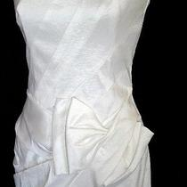 White Taffeta Bowed Short Formal Dress Size 4 Jessica Mcclintock  Photo