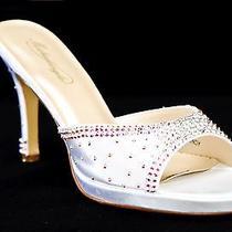 White Wedding Shoes With Swarovski Crystals Sz 9.5 Photo