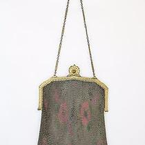Whiting and Davis 1920's Art Deco Floral Coin Purse Fine Soldered Mesh Bag  Photo