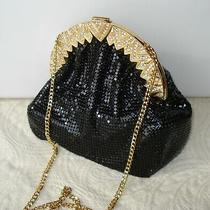 Whiting and Davis Bag Purse Black Gold Chain Gold and Rhlinestone Clasp Photo