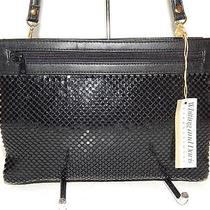 Whiting and Davis  Evening Bag Black Mesh Leather Trim Shoulder Purse Nwt Photo