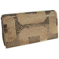Whiting and Davis Geo Clutch - Antique Gold Photo