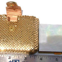 Whiting and Davis Gold Mesh Compact Case W Mother of Pearl Topped Compact Photo