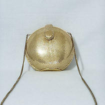 Whiting and Davis Hard Case Evening Bag Gold Metal Mesh Purse Photo