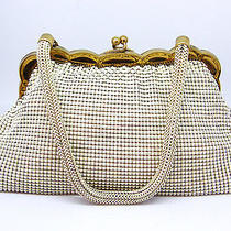 Whiting and Davis Kiss Lock Purse Creamy White Enamel Mesh Tube Handle Photo
