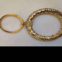 Whiting and Davis New Gold Tone Mesh Key Chain Ring Fob 3.5