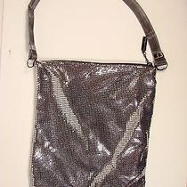Whiting and Davis Silver Mesh Messenger Style Handbag  Gunmetal  Strap Photo