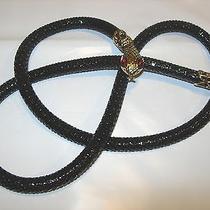 Whiting and Davis Vintage Black Metal Mesh Snake Head Belt Necklace Red Eyes 40