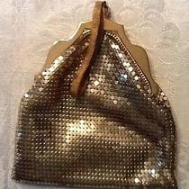 Whiting and Davis Vintage Gold Mesh Wrist Bag Purse Photo
