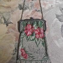 Whiting & Davis Antique Vintage Mesh Handbag With Flowers Photo