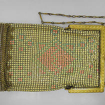 Whiting & Davis Art Deco Enamel Mesh Purse Signed Pristine Condition  Photo
