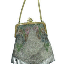Whiting Davis Art Deco Mesh Purse Watercolor Pattern Hand Bag Gold Frame Photo